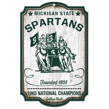 """MICHIGAN STATE SPARTANS 1965 NATIONAL CHAMPS VAULT WOOD SIGN 11""""X17'' WINCRAFT"""
