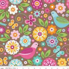 riley blake stoff. summer song 2 haupt in braun. vögel floral, zwölftonmusik. vom fq