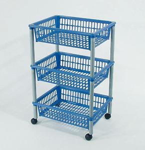 Vorratswagen KS 3 Körbe blau Vorräte Kartoffeln Aufbewahrung Zwiebeln