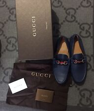 NEW 100% AUTHENTIC GUCCI NAVY LOAFERS SHOES BLUE & RED STRIP G 8.5 US 9