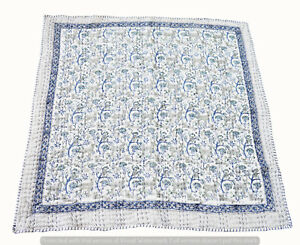 Indian Baby Quilt Flower Print Kantha Hand Block Ethnic Bedspread Throw Blanket