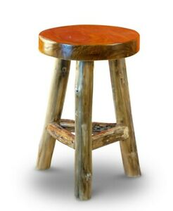 Teakwood Stool Side Table Teak Wood Wooden Stool Solid Round Solid Wood Natural