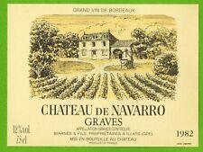 Ancienne Etiquette de vin-Bordeaux-Graves(1982)-Château de Navarro-N°453