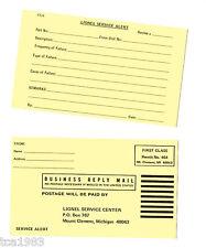 {pair} Old Lionel DEALER Service Alert Postcard's / Post Card