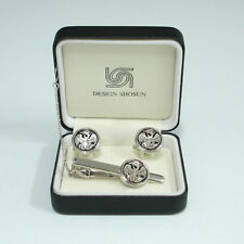 Mother of Pearl Phoenix Design Tie Clip Bar Clasp Pin Round Cufflinks Gift Set