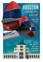 "JA044 HOUSTON MUNICIPAL AIRPORT POSTER 14"" X 20"" BY ARTIST CHRIS BIDLACK"
