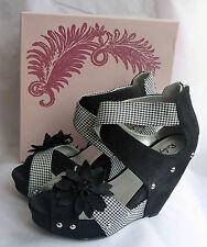 New Ruby Shoo Goldie Black Wedge High Heel Platform Peeptoe Shoes Sz 7 Boxed