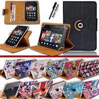 Folio Rotating Stand Wallet Leather Case Cover For Amazon Kindle Fire 7/HD8/HD10