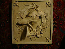Greyhound hunting dog wall plaque animal art home decor stone tile sculpture