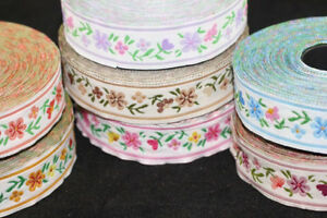10 mt 16 mm Floral Jacquard ribbon (0.62 inches) - woven ribbon, authentic