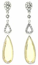 Vintage Deco Sterling-Silver Marcasite & Yellow Stone Earrings