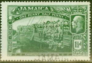 Jamaica 1919 1 1/2d Green SG80a Major Re-Entry Fine Used