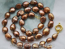 LARGE 12-13MM BROWN NATURAL BAROQUE CULTURED PEARL NECKLACE 34''