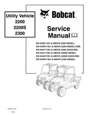 Bobcat 2200 2200S 2300 Utility Vehicle Service Manual New 2009 Edition 6904893