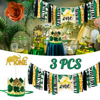 Baby Birthday Jungle Safari Canvas Banner Zoo Animals Party Decorations Supplies