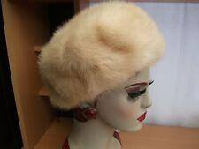EDNA WALLACE Beige Blonde Mink fur lined hat vintage 1950's VGC