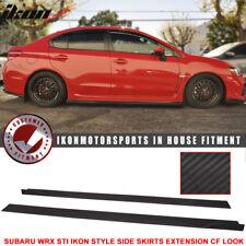 Fits 15+ Subaru WRX/STI IKON Style Side Skirt Extension Flat Bottom Line Lip PU