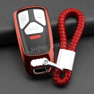 For Audi Red TPU Smart Key Fob Case Chain Cover A4 B9 A5 Q5 Q7 S4 S5 SQ5 TT