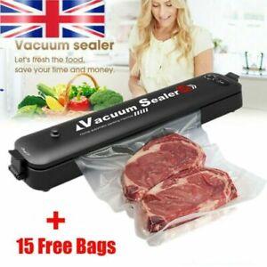 Food Vacuum Sealer Packing Machine Sous Vide Kitchen Storage W/ 15 Sealing Bags