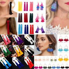 3 Colors Bead Dangle New Big Cotton Tassel Pendant Bead Drop Earrings For Women