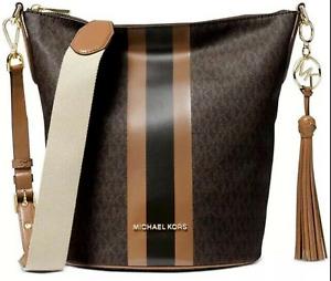 Michael Kors Brooke Brown Acorn Signature Stripe Leather Bucket Crossbody New
