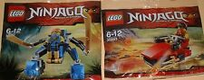 2x LEGO NINJAGO! ROSSO NINJA Kai e BLU NINJA Jay Mech con molti accessori OVP