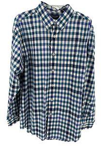 Men's Teal Blue White Dress Shirt Size 3XT Tall Checks Button Up Roundtree Yorke