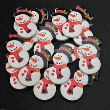 30 WOODEN SNOWMAN SHAPE BUTTONS - XMAS - CRAFT - SCRAPBOOK - SEWING - CARDS