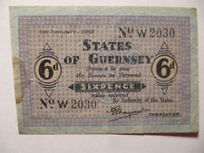 Guernsey 6d (Six Pence) P.24 German Occupation WWII Condition: Fine (blue paper)