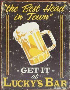 Tin Sign - Moore Lucky's Bar - poster vintage retro plaque wall home decor pub
