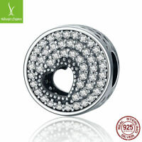 Love Heart & Round Silver Beads Clear CZ Charm fit 925 sterling charm bracelets