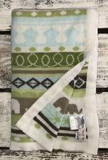 Hooray By Cynthia Rowley Baby Blanket Elephants Acrylic Blue Green Cream Lovey
