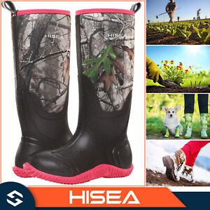 HISEA Outdoor Women Boots Neoprene Rubber Insulated Muck Mud Chore Working Boots