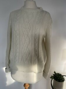 BNWT MARKS & SPENCER CREAM CABLE KNIT JUMPER SIZE 14