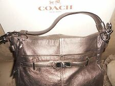 Coach Chelsea Silver Pewter Metallic Ashlyn Leather Shoulder Bag Purse S/N 18211