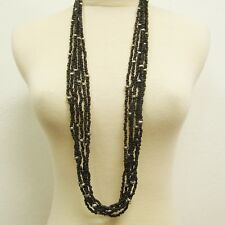 "36"" Long Multi Strand Black Bohemian Handmade Seed Bead Faux Silver Necklace"