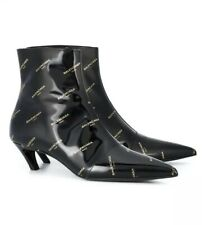 Balenciaga Black Slash Logo 55 Ankle Boots. BNWB. Size EU39. Sold Out!!