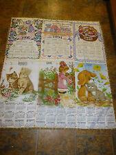 "Handmade Hand Tied Quilt 41"" x 47 Calendar quilt with Cats,Puppies, Dolls Bears"