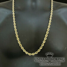 Real 10K 100% Yellow Gold 8mm Men's Hollow Diamond Cut Rope Chain Necklace 30""