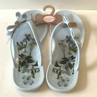 Ted Baker Bow jelly flip flops Sandals Size UK 6 EUR 39 Blue Floral