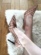 ZARA NUDE BEIGE HIGH HEEL POINTED COURT SHOES WITH MESH, SIZE UK 4 / EUR 37.