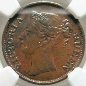 STRAITS SETTLEMENTS Malaysia Britain 1/2 cent 1845 NGC XF 45 BN Victoria