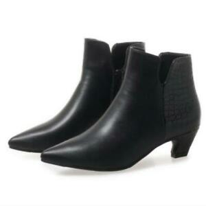 Sexy Women Pointy Toe Kitten Heel Zip Up Party Ankle Boots Casual Shoes 34/46 D