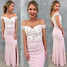 Stunning Off Shoulder Dress Size 10 Pink Lace Top Slit