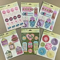 Lot of 6 Studio 112 sticker packs dimensional chipboard die cut scrapbooking etc
