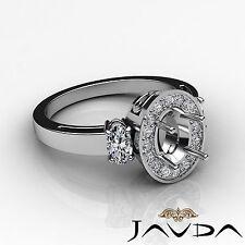 Three Stone Diamond Engagement Filigree Ring 14k White Gold Oval Semi Mount 1ct