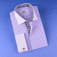 Pastel Multi-Colored Striped Dress Shirt White Poplin Contrast Cuff Business Top