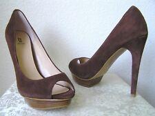 Bakers - NEW Peep Toe Platform Heels KONTESA Brown Suede Leather Shoes 8.5M