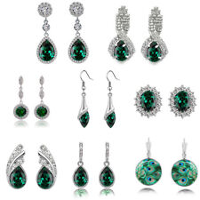 Christmas Collection of emerald green crystal rhinestones drop dangle earrings