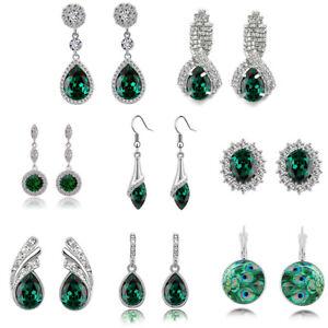 Christmas Collection of emerald green crystal rhinestones drop dangle earrings